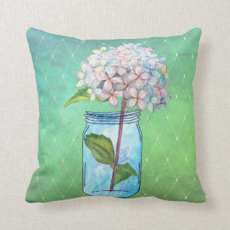 Green Latticed Hydrangea in Blue Jar Throw Pillow