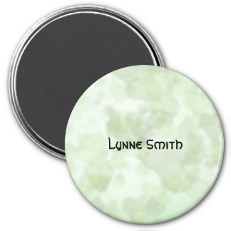 Green Leaf Background, Personalized 3 Inch Round Magnet
