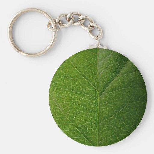 Green Leaf Basic Round Button Keychain