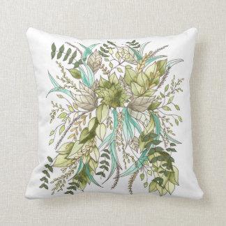 Green Leaf Botanical Throw Pillow