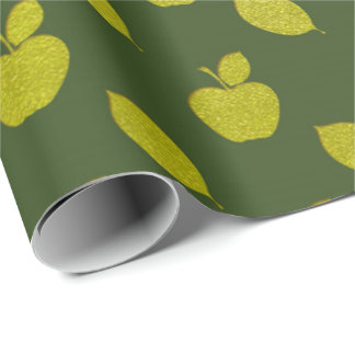 Green Leaf Cali Metallic Apple Fruits Foil Wrapping Paper