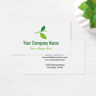Green leaf company logo business card template