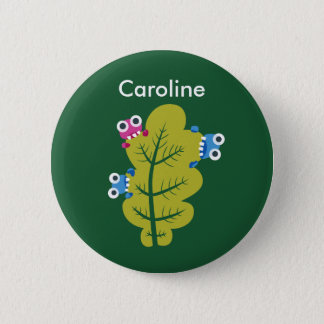 Green Leaf Eaters Cute Cartoon Bugs Kids Name 2 Inch Round Button