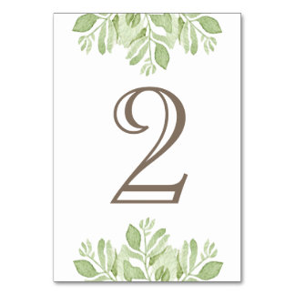Green Leaf Garden  Watercolor | Table Number