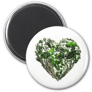Green Leaf Heart 2 Inch Round Magnet
