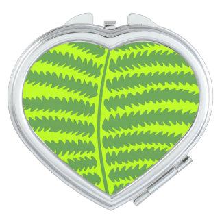 Green Leaf Heart Compact Mirror