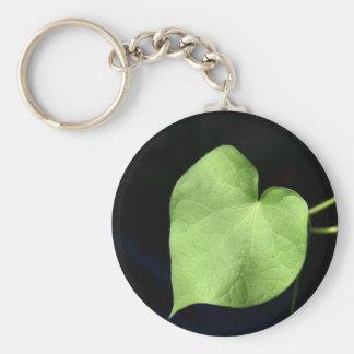 Green Leaf Heart Photo Basic Button Keaychain Basic Round Button Keychain