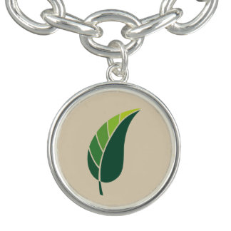 Green Leaf Icon / tan Bracelet