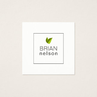 Green Leaf Minimalist Professional Naturopathy Square Business Card
