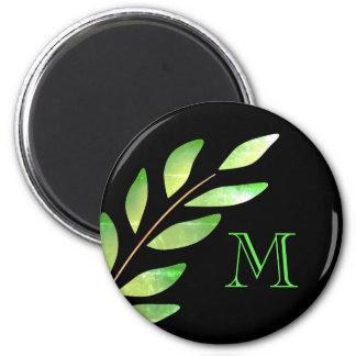 Green leaf monogram magnet