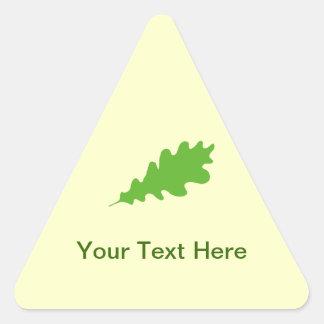 Green Leaf, Oak Tree leaf Design. Triangle Sticker