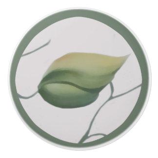 Green Leaf on Cream Background Ceramic Knob