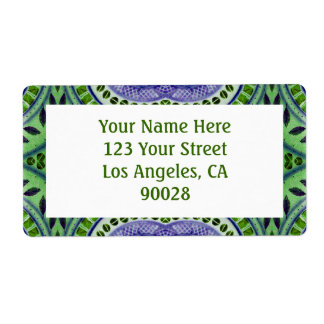 green leaf pattern shipping label