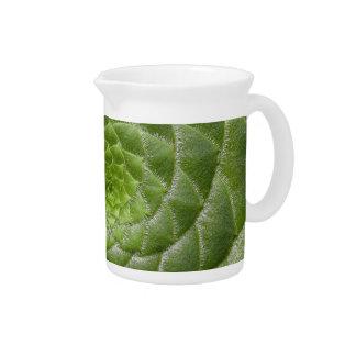 green leaf pattern spiral design pitcher