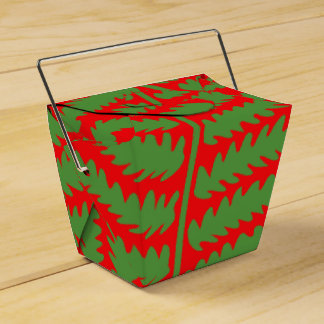 Green Leaf Red Take Out Favor Box