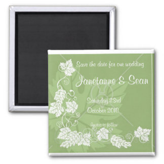 GREEN LEAF, Save the date Square Magnet