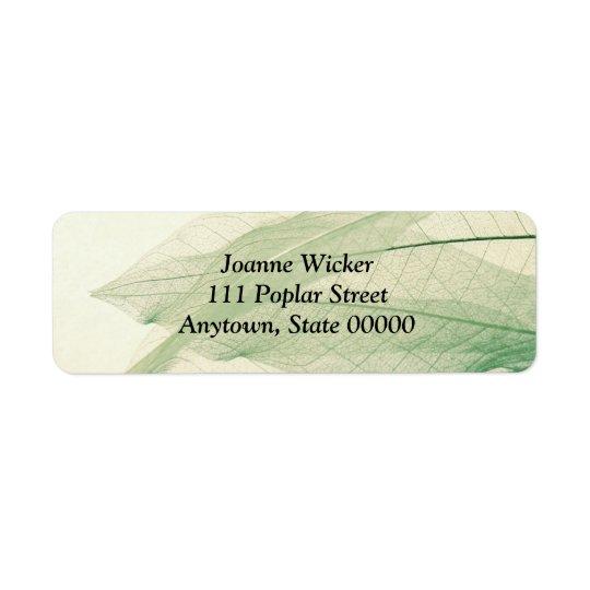 Green leaf skeletons small address label