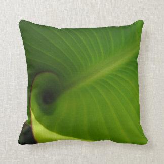 Green Leaf Swirl Throw Pillow