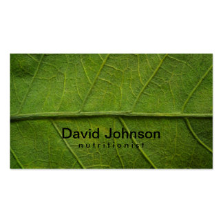 Green Leaf Texture Nutritionist Business Card