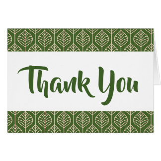 Green Leaf Thank You Leaves Boho Wedding Card