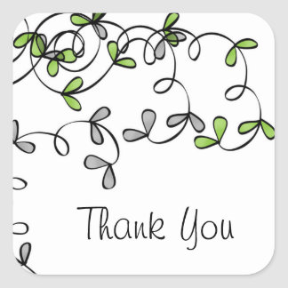 Green Leaf Thank You Square Sticker