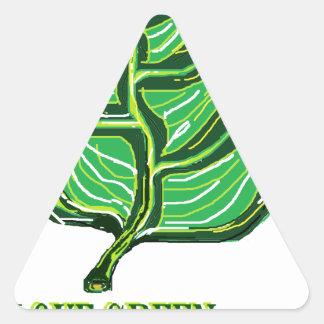 Green Leaf Triangle Sticker