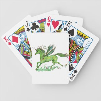 Green Leaf Unicorn Pegacorn Pegasus Horse Bicycle Playing Cards
