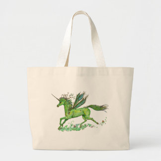 Green Leaf Unicorn Pegacorn Pegasus Horse Large Tote Bag
