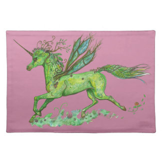 Green Leaf Unicorn Pegacorn Pegasus Horse Placemat