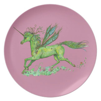 Green Leaf Unicorn Pegacorn Pegasus Horse Plate
