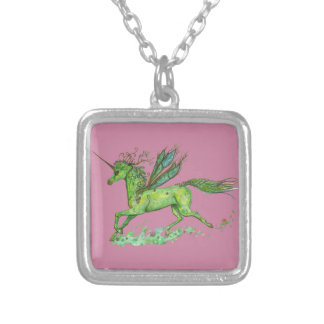Green Leaf Unicorn Pegacorn Pegasus Horse Silver Plated Necklace
