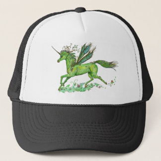 Green Leaf Unicorn Pegacorn Pegasus Horse Trucker Hat