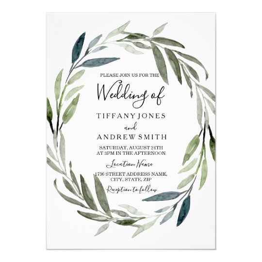 Green Leaf Wreath Modern Spring Wedding Invite