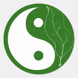 Green Leaf Yin Yang Classic Round Sticker