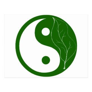 Green Leaf Yin Yang Postcard
