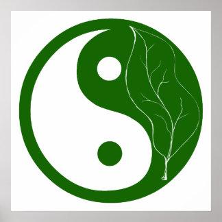 Green Leaf Yin Yang Poster