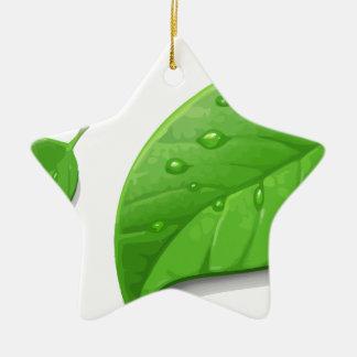 Green Leafs Ceramic Star Ornament