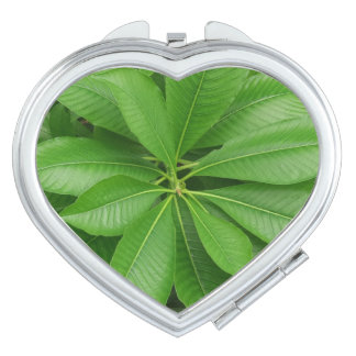 Green Leafs Heart Compact Mirror