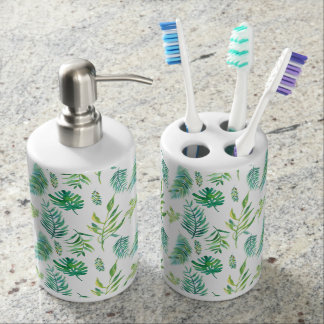 Green Leafs Seamless Pattern Soap Dispenser And Toothbrush Holder