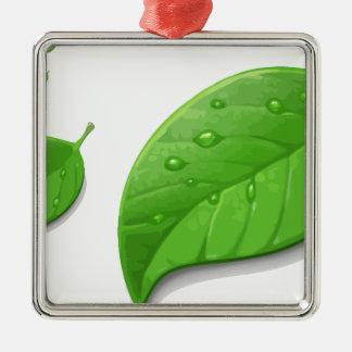 Green Leafs Silver-Colored Square Ornament