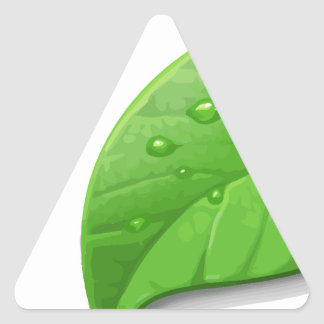 Green Leafs Triangle Stickers
