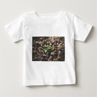 Green Leafy Plant Starting to Grow on Beige Racks Baby T-Shirt