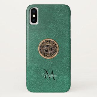 Green Leather Bronze Celtic Triskele Knot Monogram iPhone X Case