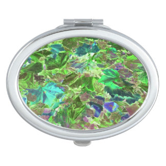 Green Leaves Abstract Pattern Makeup Mirror