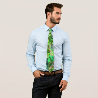 Green Leaves Abstract Pattern Tie