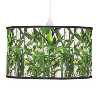 Green leaves and bamboo shoots house plant pendant lamp