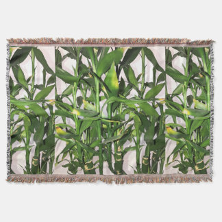 Green leaves and bamboo shoots house plant throw blanket
