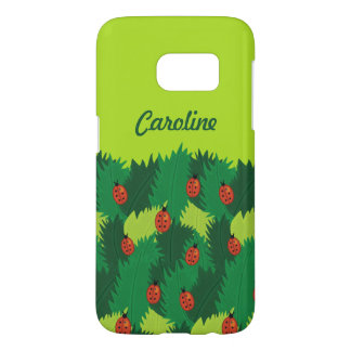 Green Leaves And Ladybugs Spring Time Custom Name Samsung Galaxy S7 Case