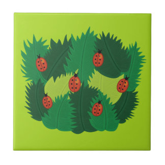 Green Leaves And Ladybugs Spring Time Tile
