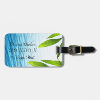 Green leaves and waters spa design luggage tag